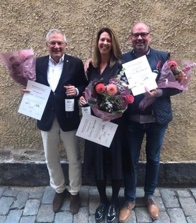 Vinnarlaget Marie Vigetoft, Clas Runnberg och Peter Harletun i KWV Roodeberg Vision blendingtävling 2019